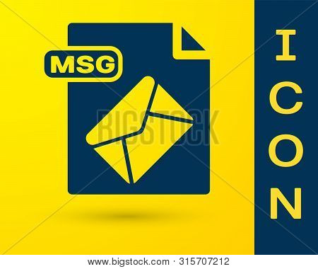 Blue Msg File Document. Download Msg Button Icon Isolated On Yellow Background. Msg File Symbol. Vec