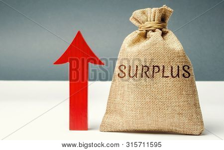 Money Bag With The Word Surplus And Up Arrow. The Concept Of Increasing Budget Surplus. Economic Pro