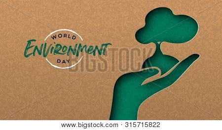 World Environment Day Greeting Card Illustration Of Green Papercut Hand With Tree. Nature Care Conce