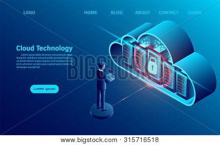 Cloud Computing Concept. Data Security Concept. Online Computing Technology. Big Data Flow Processin