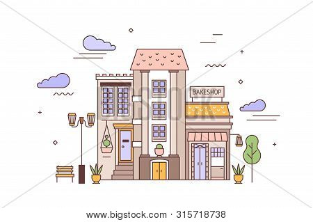 Urban Landscape Or Cityscape With Facades Of Living Building And Bakery. Street View Of City Distric