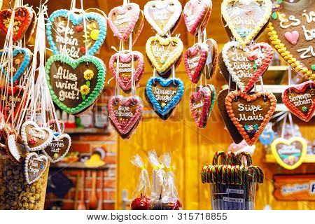 Gingerbread Hearts At German Christmas Market. Nuremberg, Munich, Fulda, Berlin, Hamburg Xmas Market