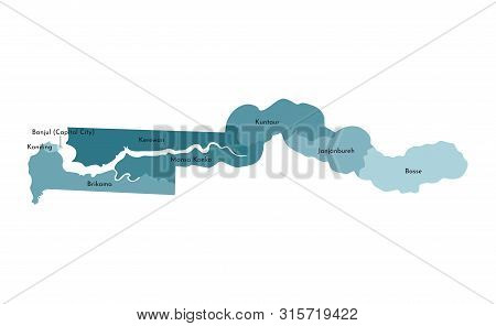 Vector Isolated Illustration Of Simplified Administrative Map Of Gambia. Borders And Names Of The Re