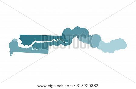 Vector Isolated Illustration Of Simplified Administrative Map Of Gambia. Borders Of The Regions. Col