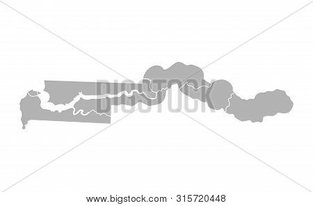 Vector Isolated Illustration Of Simplified Administrative Map Of Gambia. Borders Of The Regions. Gre