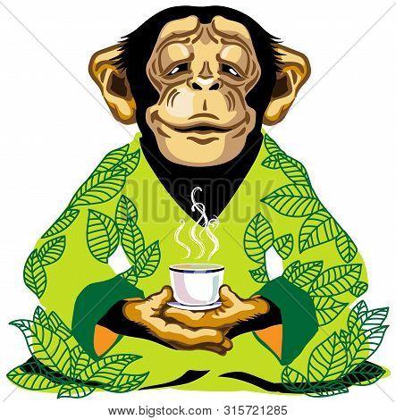 Cartoon Chimp Great Ape Or Chimpanzee Monkey Wearing Kimono Robe With Green Tea Leaves, Sitting In L