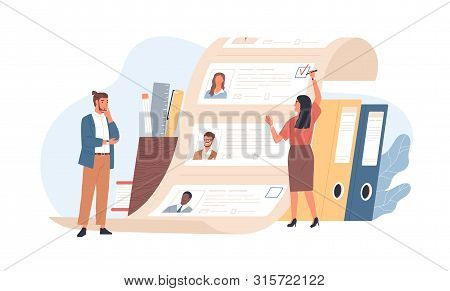 Man And Woman Office Workers Standing In Front Of List Of Job Applicants. Concept Of Choice Of Worke