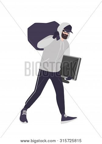 Cheerful Male Thief Wearing Mask, Cap And Hoodie Carrying Bag And Tv. Bearded Man Commits Theft, Bur
