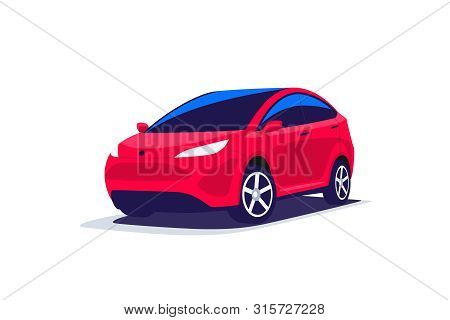 Flat Vector Illustration Of An Abstract Modern Design Red Suv Compact Crossover Offroad Car Transpor