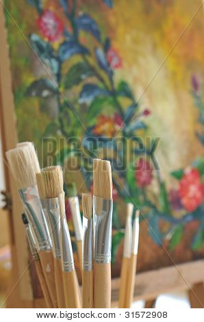 Painter's Tools, Set Of Different Art Brushes. .