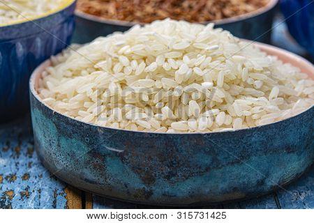 White Italian Arborio Rice Used For Making Risotto Dish Close Up
