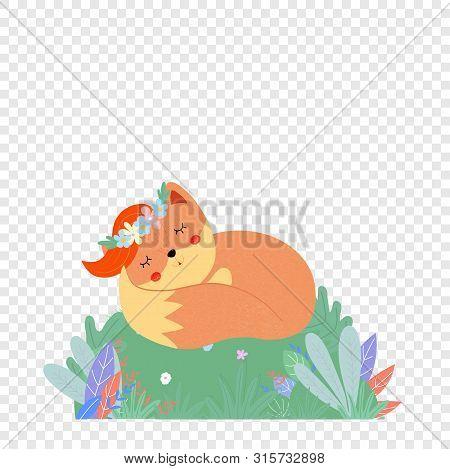 Cute Fox In Flower Wreath Sleep On Green Field, Woodland Doodle Animal, Foxy Life Isolated On Transp