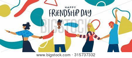 Happy Friendship Day Banner Illustration Of Friends Walking Holding Hands With Abstract Geometric Sh