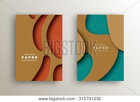 Paper cut background set with colorful abstract cutout shapes. Realistic papercut design ideal for business presentation, web or creative concept. poster