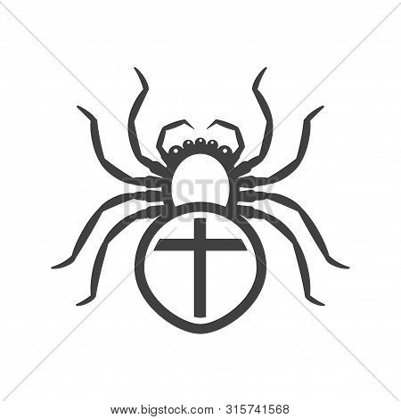 Icon Of A White Spider With A Cross On The Abdomen. Vector On A White Background.