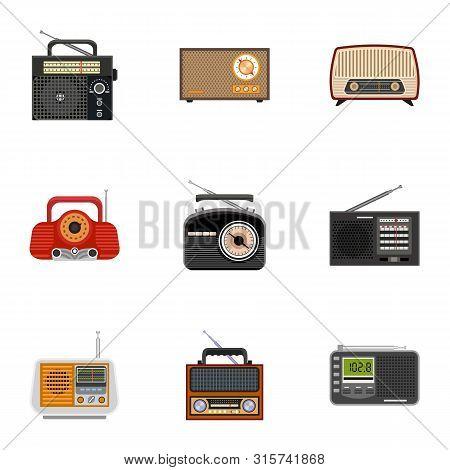 Portable Radio Icon Set. Flat Set Of 9 Portable Radio Vector Icons For Web Design Isolated On White
