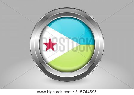 Flag Of Djibouti. Metal And Glass Round Vector Icon. Isolated