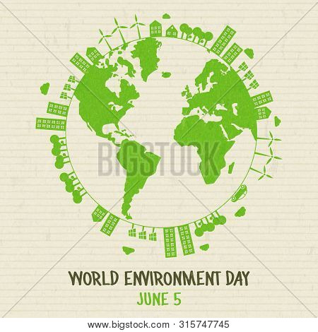 World Environment Day Illustration. Green Planet Earth Concept With Buildings And Nature For Sustain
