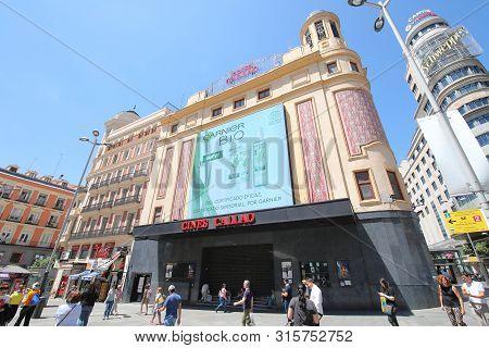 Madrid Spain - May 27, 2019: Unidentified People Visit Cines Callao Movie Theatre Gran Via Madrid Sp
