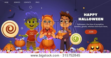Cartoon Halloween Landing Illustration With Trick Or Treating Kids In Scary Fun Costumes. Zombie, De
