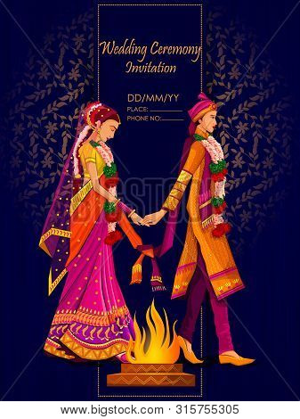 Indian Bride And Groom In Ethnic Dress Lengha And Serwani For Wedding Day