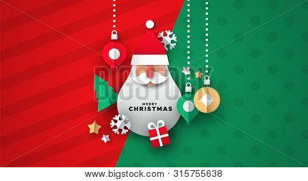 Merry Christmas illustration of realistic 3d papercut decoration. Holiday season icons with santa claus shape ornament. poster