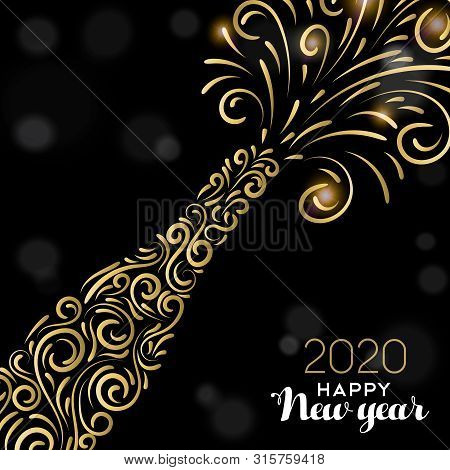Happy New Year 2020 Greeting Card Illustration. Luxury Gold Champagne Bottle On Black Background For