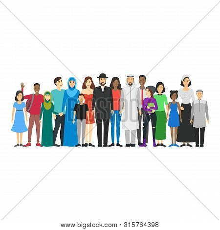 Cartoon Characters People National Family Crowd. Vector
