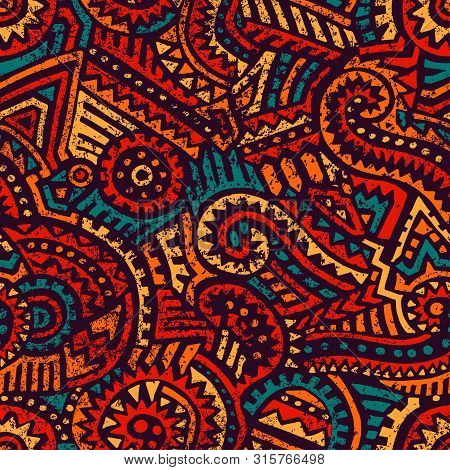 Seamless African Pattern. Ethnic And Tribal Motifs. Orange, Red, Yellow, Blue And Black Colors. Grun