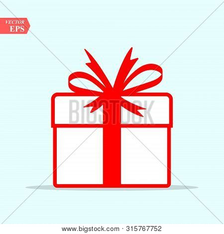 Illustration Of Red Gift Box Icon On Background. Christmas Gift Icon Illustration Vector Symbol. Pre