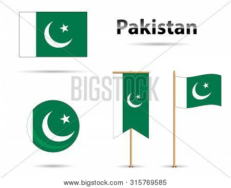 Set Of Pakistan Flags, Moon And Star Over Green