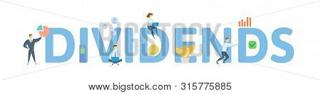 DIVIDENDS. Concept with people, letters and icons. Flat vector illustration. Isolated on white background. poster