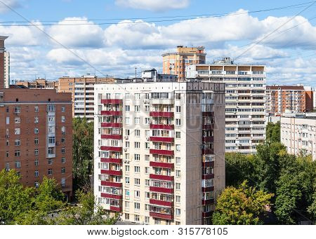 Concrete-paneled House In Residential District In Moscow City In Sunny Summer Day