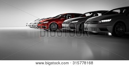 poster of Compact cars fleet in the studio garage. A red one standing out. Choosing new car concept. Generic and brandless yet contemporary and elegant look. 3D illustration