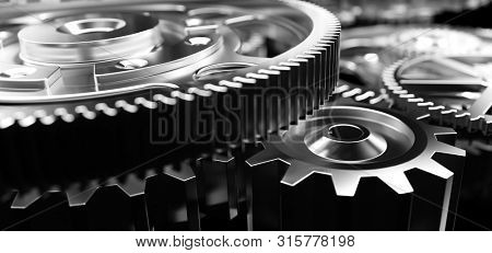 Mechanism, gears and cogs at work. Industrial machinery. Close-up, detailed. 3D illustration