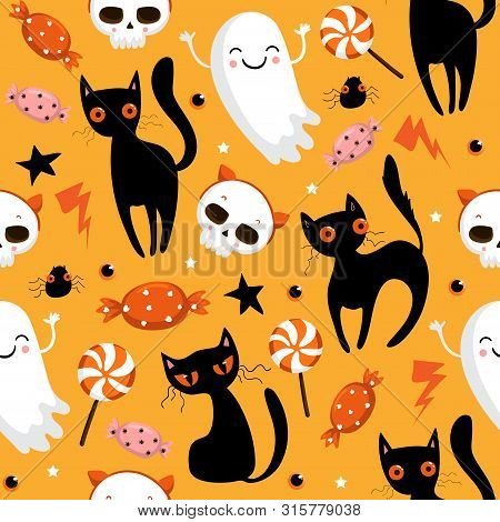 Halloween Seamless Pattern With Cute Pumpkins, Black Cat And Other Halloween Elements. Halloween Vec