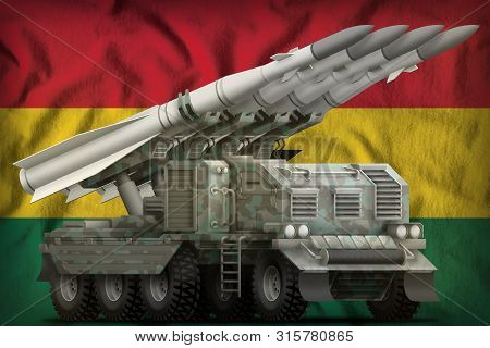 Tactical Short Range Ballistic Missile With Arctic Camouflage On The Ghana Flag Background. 3d Illus