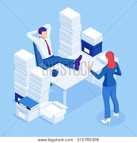 Isometric Stacks Of Paperwork And Files In The Office, Bureaucracy, Overload. Bureaucrat In The Offi