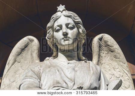 Sad Angel Sculpture. Unknown Artist Of The 19th Century.
