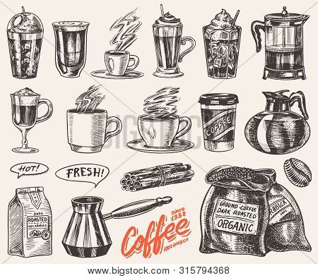 Set Of Cups Of Coffee In Vintage Style. Take Away Cappuccino And Glace, Espresso And Latte, Mocha An