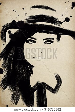 Fashion Illustration Black And White. Fashion Sketch. Abstract Painting Woman. Fashion Background. G