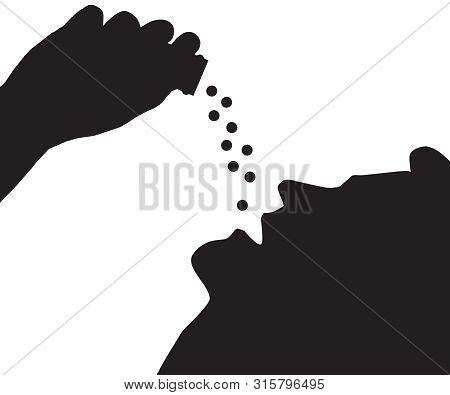 Silhouette View Of A Man Overdosing On Prescription Pills