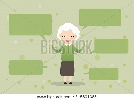 Senior Showing Thumbs Up Like. Happy Old Pensioner Character Design.group Of Senior Friends.vector,