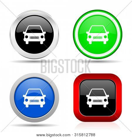 Car red, blue, green and black web glossy icon set in 4 options