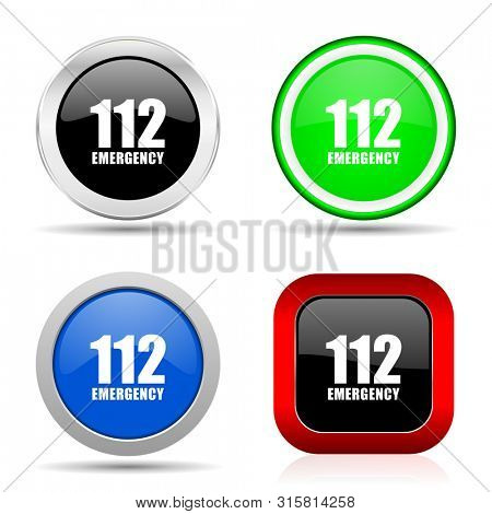 Number emergency 112 red, blue, green and black web glossy icon set in 4 options