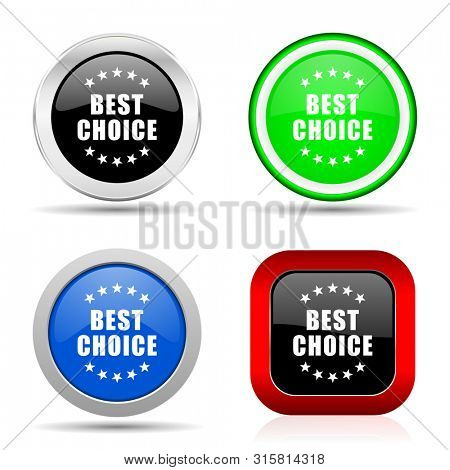 Best choice red, blue, green and black web glossy icon set in 4 options