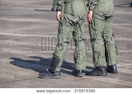 Legs Of Air Force Pilots. Pilots Who Are In Preparation For Flight Training On Military Airbase