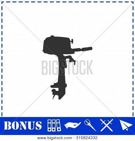 Outboard Boat Motor Icon Flat. Simple Vector Symbol And Bonus Icon