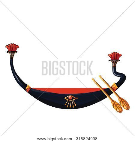 Ancient Egypt Wooden Boat With Paddle For Sun God Trip Cartoon Vector Illustration. Egyptian Culture
