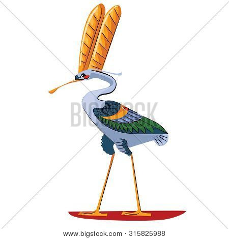 Ancient Egypt Sacred Bird Ibis Cartoon Vector Isolated On White Background. Egyptian Culture Religio